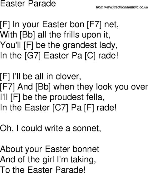 printable lyrics to easter parade old time song lyrics with guitar chords for easter parade f