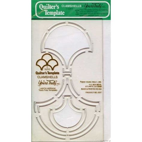 quilters template clamshells 3 sizes hard plastic vintage