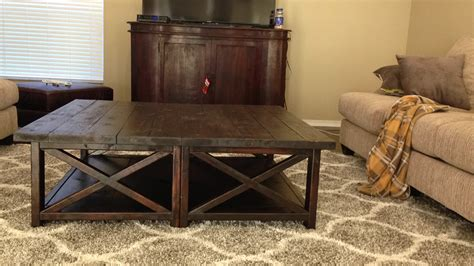 ana white rustic  square oversized coffee table diy