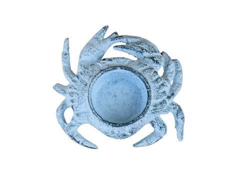 beach home decor wholesale buy dark blue whitewashed cast iron crab tealight holder 4