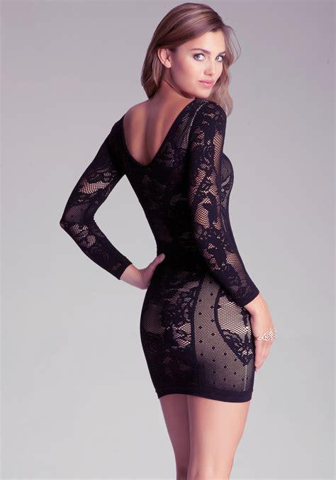 bebe jordana lace dress in black lyst