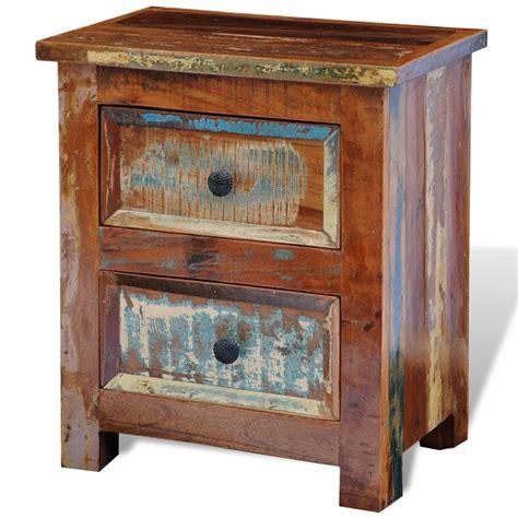 der nachttisch mit 2 schubladen aus recyceltem holz - Holz Nachttisch