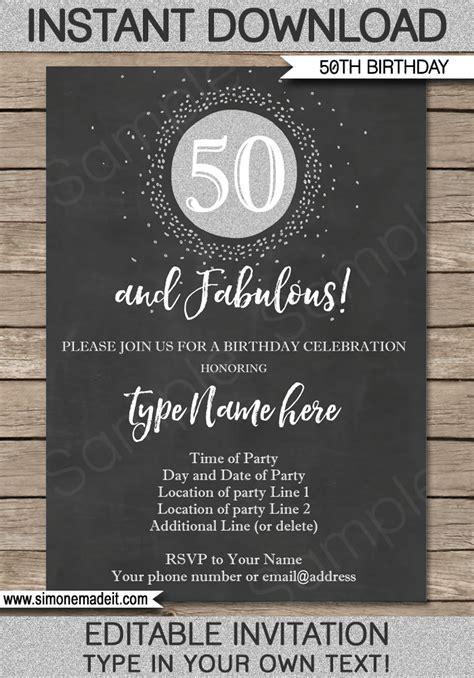 Chalkboard Th Birthday  Ee  Invitations Ee   Template Editable