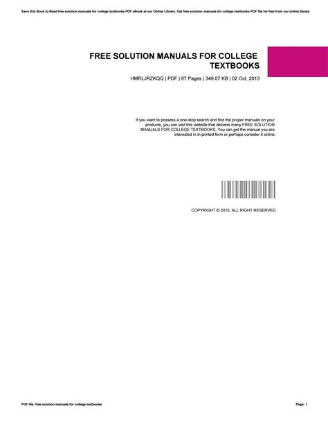 Free Solution Manuals For College Textbooks By