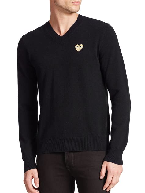 to play at sweater play comme des gar 231 ons small emblem v neck sweater in
