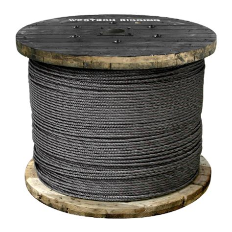 3 8 wire rope strength 3 8 quot x 5000 ft 6x19 class wire rope 15100 lbs breaking strength