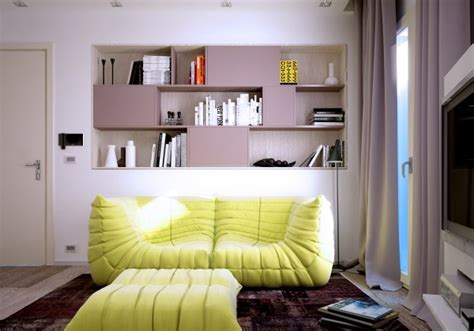 yellow couch studio small apartments with yellow sofa