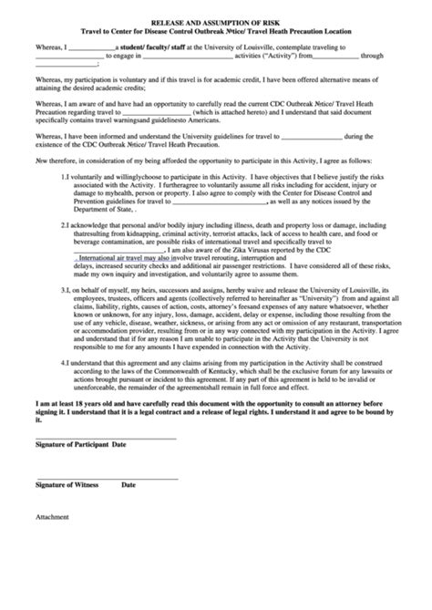 Release And Assumption Of Risk Form Printable Pdf Download Risk Waiver Form Template