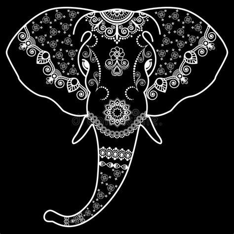 het gevaar van zwarte henna het hoofd de zwart witte olifant in de indische stijl