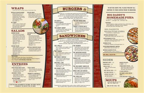 top bar menu big daddy s menus soulard bigdaddy s soulard bigdaddy s