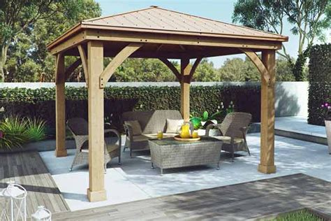terrasse 6 x 5 wood gazebo with aluminium roof