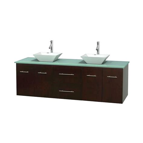 Green Glass Vanity Top by Wyndham Collection Centra 72 In Vanity In Espresso