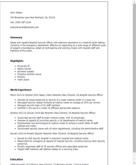 Security Officer Resume Template by Professional Hospital Security Officer Templates To