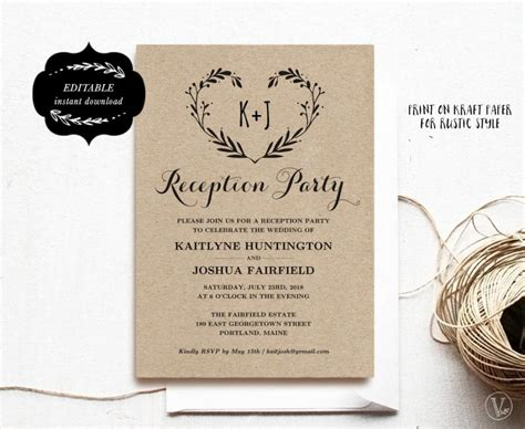 Wedding Reception Party Invitation Template Kraft Reception Card Instant Download Editable Wedding Reception Card Template