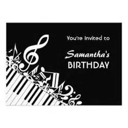 piano keys black white music notes birthday party 5x7