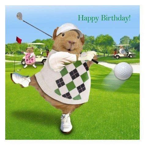 Funny Happy Birthday Golf | funny guinea pig birthday card on the golf course golf