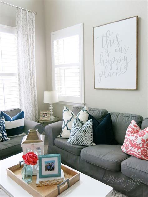 greige navy  coral living room  ideas