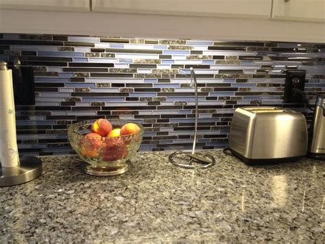 blue pearl granite counter with glass granite backsplash