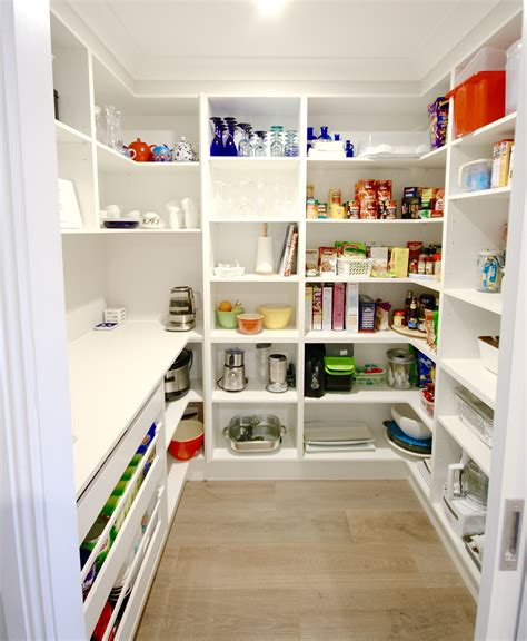 28 kitchen walk in pantry modern walk in pantry open shelving open drawers caesarstone snow bench top splash back
