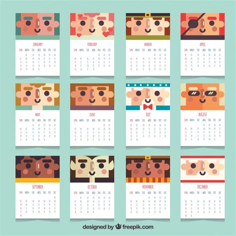 Calendar 2018 Design Free 2018 Calendar With Characters In Flat Design Vector Free