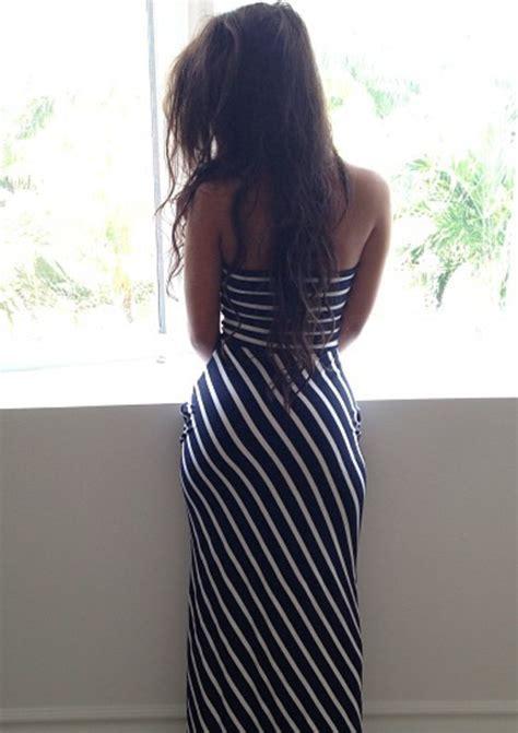 Blue Stripe S M L Dress 44985 black white striped racerback jersey knit length