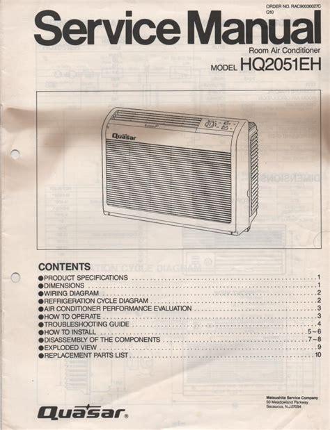 Quasar Hq2051eh Air Conditioner Service Manual