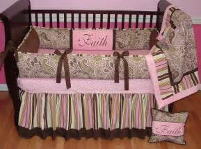 Pink And Brown Crib Bedding Sets Avery Pink Paisley Crib Set This Custom Baby Crib Bedding Set Includes The Bumper Blanket And