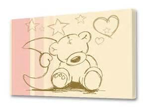 leinwandbild kinderzimmer quot knuddel teddy quot beige rosa leinwandbild stikkipix