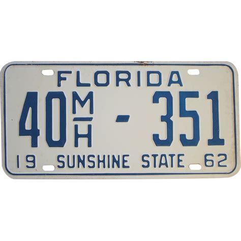 license plate light law florida vintage 1962 florida license plate from rubylane sold on