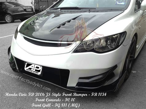 Front Sport Grille Honda New Civic honda civic fd 2006 js style front bumper front grill