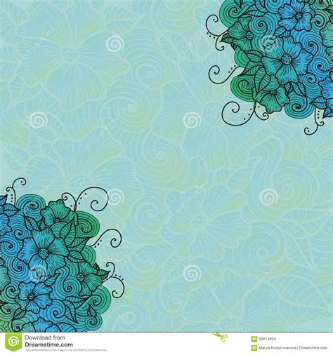 free vector doodle background design card with doodle flowers stock vector image 60814894
