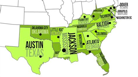 southern states map southern capitals states