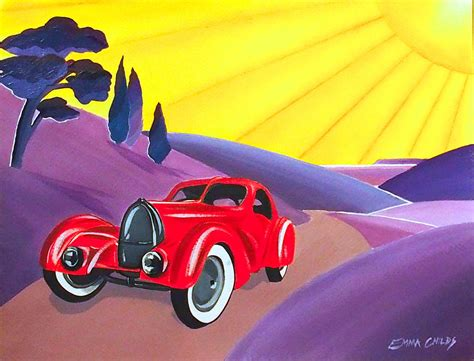 deco vintage car tour deco vintage car painting by childs