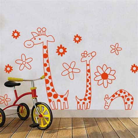 Lovely Cartoon Giraffe Wall Sticker Wall Decals Vinyl Wall Decals For Nursery Canada