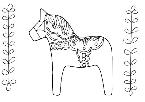 swedish dala horse coloring page coloring pages