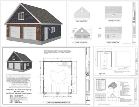 detached garage plans with bonus room g550 28 x 30 x 9 garage plans sds plans 25 x 25 garage