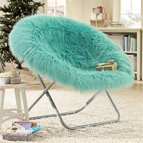 chairs for girls bedrooms pool fur rific faux fur hang a round chair pbteen
