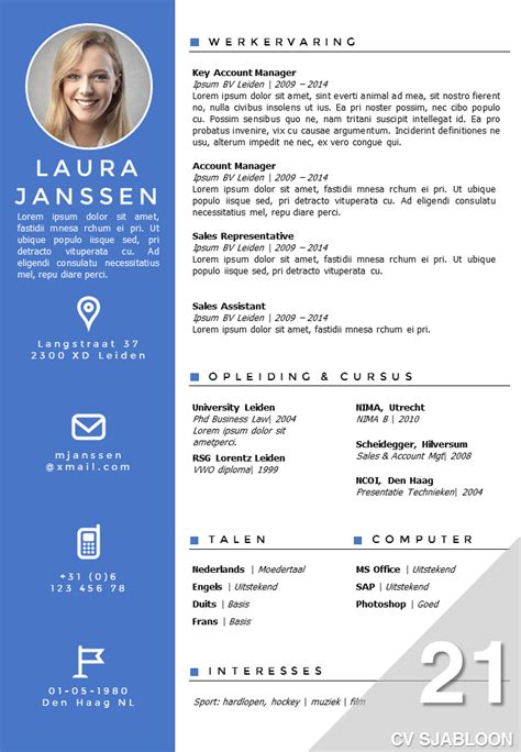 Sjabloon Functioneel Cv Word Cv Sjabloon 21