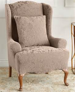 Wing Chair Slipcover Clearance Sure Fit Stretch Jacquard Damask Wing Chair Slipcover