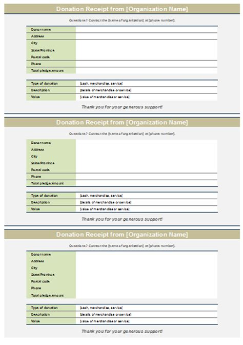 template for donation form donation receipt template