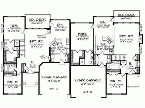 one story duplex house plans split bedroom floor plans 1600 square feet level 1 view