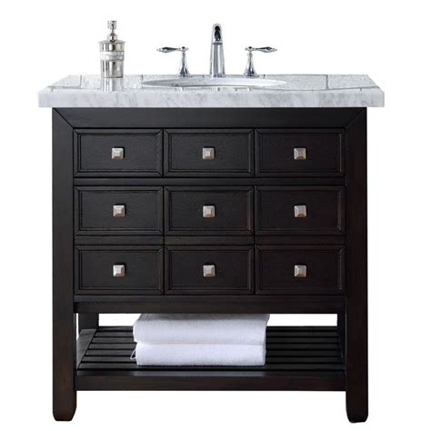 Martin Vanity by Martin Signature Vanities Vancouver 36 In W Single Vanity In Espresso Oak With Marble