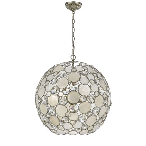 Capiz Pendant Light Crystorama Lighting Palla Antique Silver Six Light Pendant With White Capiz Shell