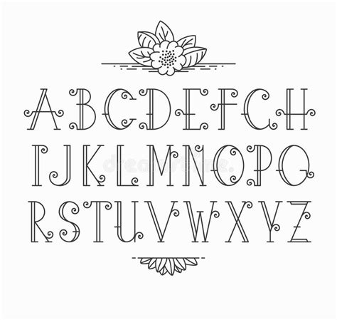 decorative symbol font download line vector decorative font stock vector image 57709362