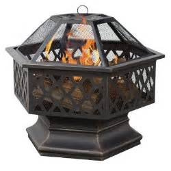 home depot outdoor pit uniflame 24 in hex shaped lattice pit in rubbed