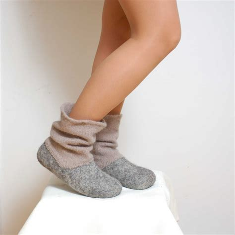 boot house shoes felted wool slipper boots grey organic wool felt boots