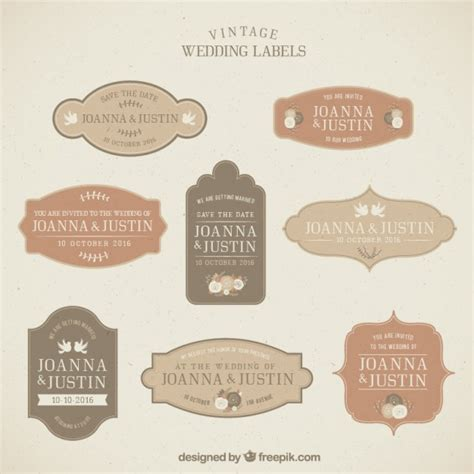 Wedding Label by Vintage Wedding Labels Collection Vector Premium