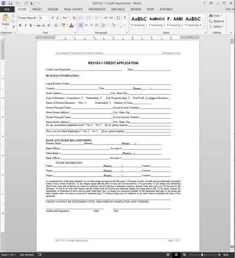 Line Of Credit Application Template Credit Application Template Rev103 1