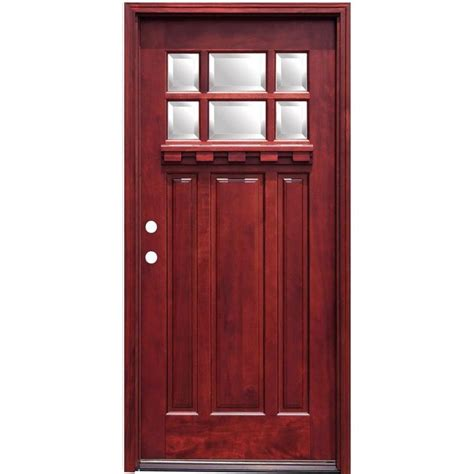 What Is A Prehung Exterior Door Pacific Entries 36 In X 80 In Craftsman 6 Lite Stained Mahogany Wood Prehung Front Door With