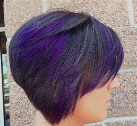 shag haircut brown hair with lavender grey streaks 20 hottest short stacked haircuts the full stack you